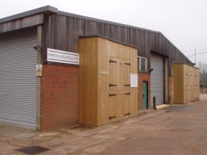 Photograph of outside the workshop and office units